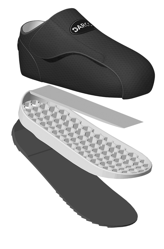 shoe upper is a light-weight, breathable nylon fabric that repels water and soil